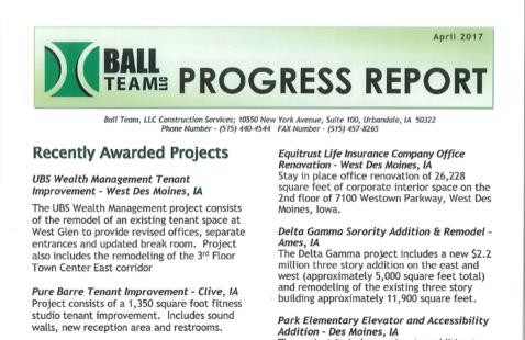 Ball Team April 2017 Progress Report